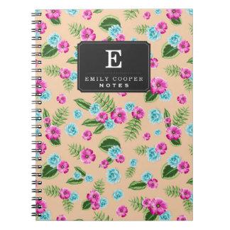 Cyan x Pink Flowers Pattern Notebooks
