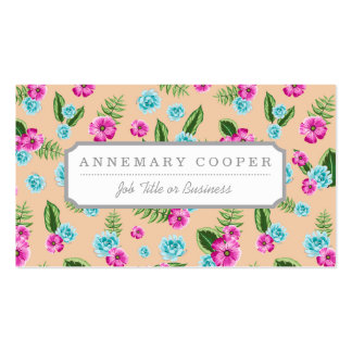 Cyan x Pink Flowers Pattern Pack Of Standard Business Cards