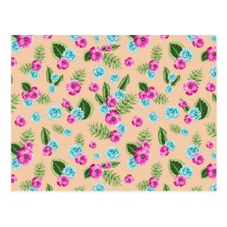 Cyan x Pink Flowers Pattern Postcard