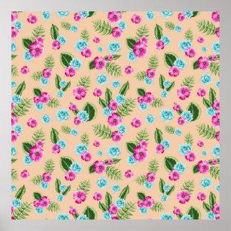 Cyan x Pink Flowers Pattern Poster