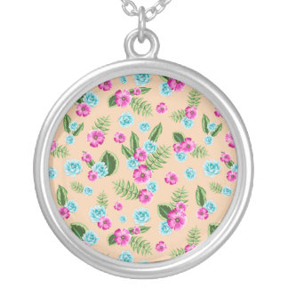 Cyan x Pink Flowers Pattern Round Pendant Necklace