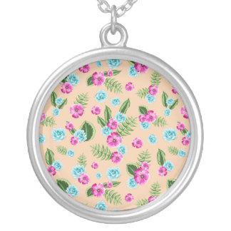 Cyan x Pink Flowers Pattern Round Pendant Necklace