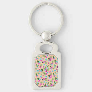 Cyan x Pink Flowers Pattern Silver-Colored Rectangle Key Ring