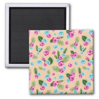 Cyan x Pink Flowers Pattern Square Magnet