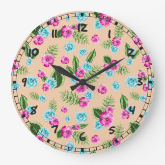 Cyan x Pink Flowers Pattern Wallclocks