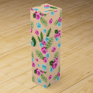 Cyan x Pink Flowers Pattern Wine Gift Boxes