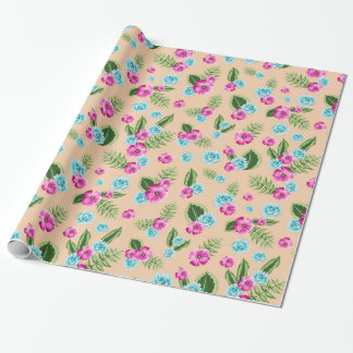 Cyan x Pink Flowers Pattern Wrapping Paper