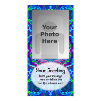 Cyberdelic Kaleidoscope Vertical PhotoCard Tmplte Personalized Photo Card
