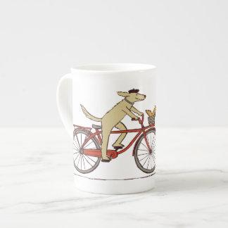 Cycling Dog with Squirrel Friend - Fun Animal Art Bone China Mug