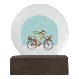 Cycling Dog with Squirrel Holiday Snow Globe