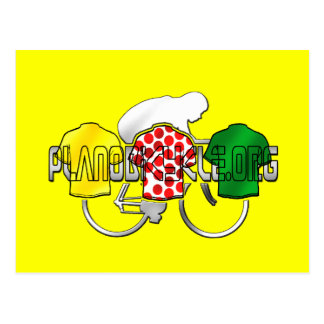 Cycling Jerseys Yellow Green and Red Polka Dot Postcard