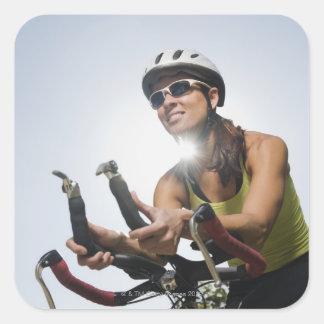 Cyclist 2 square sticker