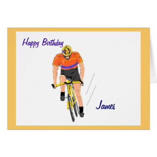 Cyclist Racing birthday card. Change name. Card
