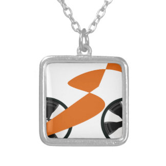 cyclist silver plated necklace