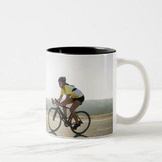 Cyclists road riding in Malibu Two-Tone Coffee Mug
