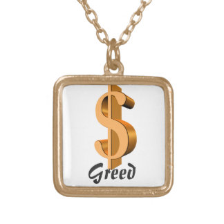 Cynful Charm - Greed Square Pendant Necklace