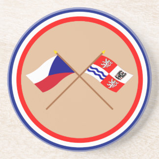 Czech and Central Bohemia Crossed Flags Coaster