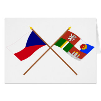 Czech and South Bohemia Crossed Flags Card