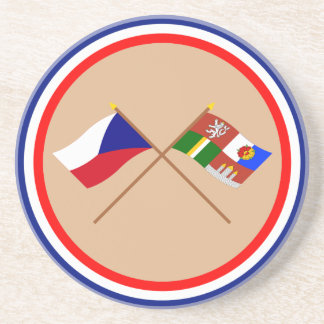 Czech and South Bohemia Crossed Flags Coaster
