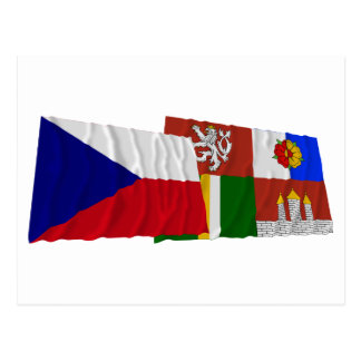 Czech and South Bohemia Waving Flags Postcard