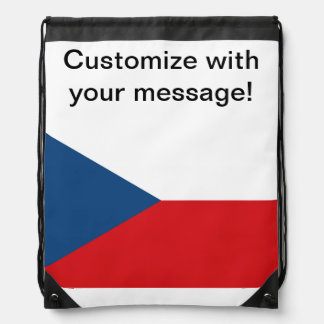 Czech Republic Flag Drawstring Bag