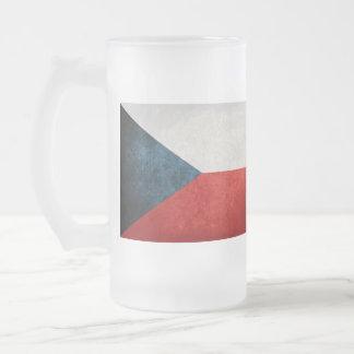 Czech Republic Flag; Frosted Glass Mug