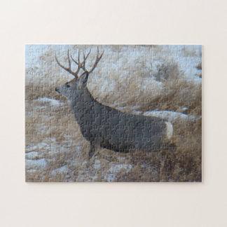 D0028 Mule Deer Buck Running Jigsaw Puzzle