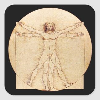 Da Vinci Vitruvian Man Square Sticker