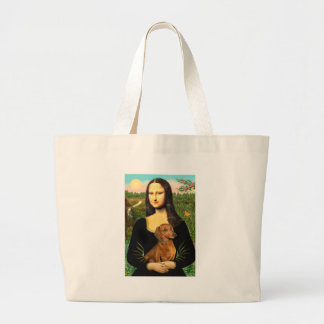 Dachshund (brown1) - Mona Lisa Large Tote Bag