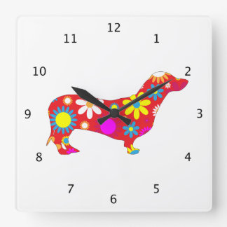Dachshund dog funky floral retro flowers colorful square wall clock