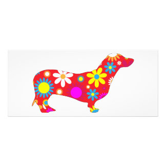 Dachshund dog funky retro floral colorful custom rack card