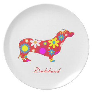 Dachshund dog funky retro floral flowers colorful party plates