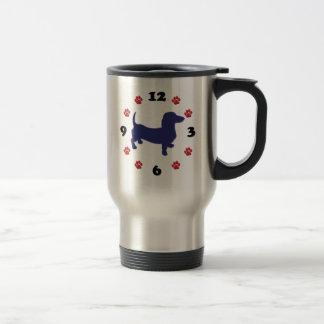 Dachshund Doxie Clock Stainless Steel Travel Mug