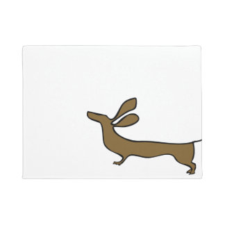 Dachshund illustration flying ears doormat