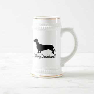 Dachshund in Silhouette with Paw Print Beer Stein