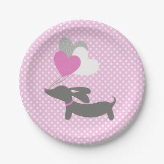 Dachshund Pink Girl Baby Shower Paper Plates