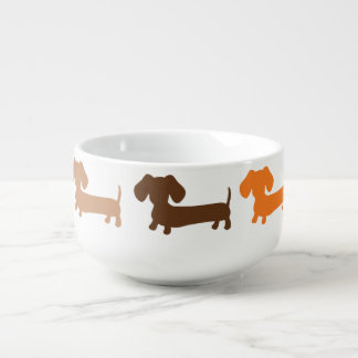 Dachshund Soup Bowl Mug in Browns and Rust