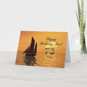 Dad 75th Sunset Yacht Birthday Card