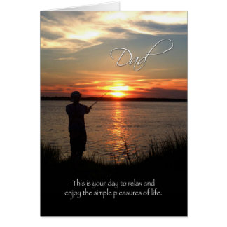 Dad / Father Birthday, Sunset Fishing Silhouette Greeting Card