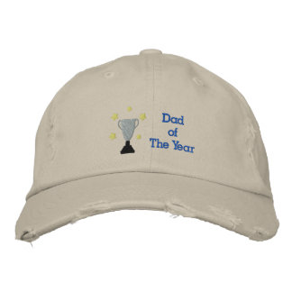 Dad of The Year Embroidered Distressed Hat Templat Embroidered Hats