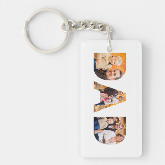 Dad Photo Collage Double-Sided Rectangular Acrylic Key Ring