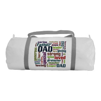 Dad Word Cloud Text Father's Day Typography Gym Duffel Bag