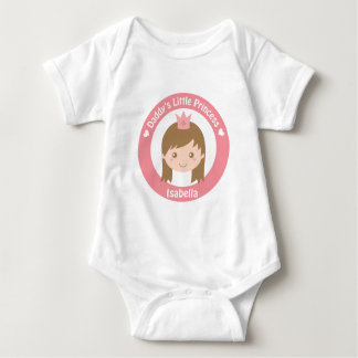 Daddy Little Princess, Cute Princess with Tiara Baby Bodysuit