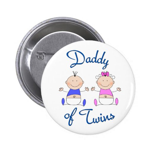 Daddy of Twins Pinback Buttons