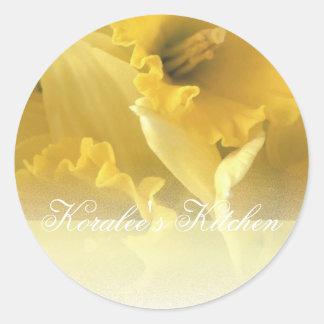 Daffodils 1 spice jar labels round sticker