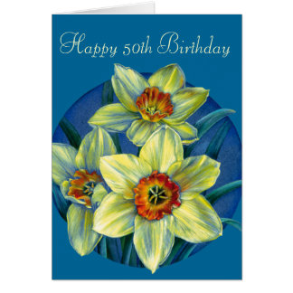 Daffodils Happy 50th Birthday yellow and blue card