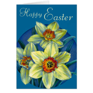 """Daffodils """"Happy Easter"""" yellow and blue card"""