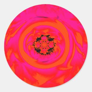 Dahlia Abstract, Orange, Pink Round Sticker