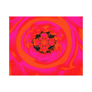 Dahlia Abstract, Orange, Pink Stretched Canvas Print