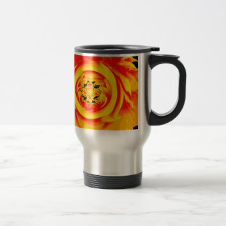 Dahlia Abstract, Yellow, Orange, Red Stainless Steel Travel Mug